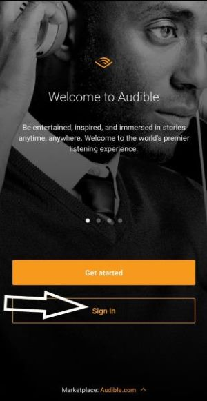 Audible android app - change marketplace: log in