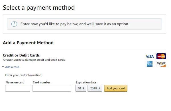 Amazon add payment method