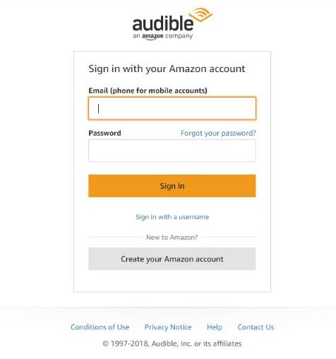 Signing up to Audible Escape from the UK, Canada, Australia, or the EU: login