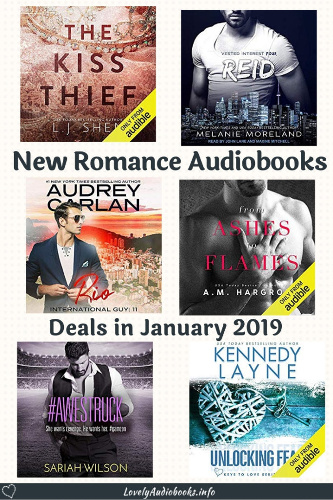 New Romance Audiobooks you can pick up for free or in a deal in January 2019, including the Kiss Thief by L. J. Shen and Reid by Melanie Moreland #booklist #free #audiobooks