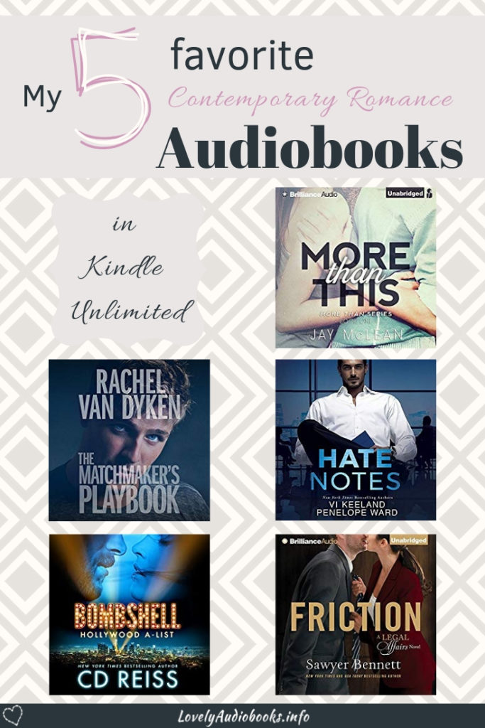 This is my book list of the 5 best Contemporary Romance Audiobooks in Kindle Unlimited. These books are written by best selling authors and each narrator knows how to perfectly bring these steamy hot stories to live. And yet, they are all free to listen with a Kindle Unlimited subscription! #booklist #romance #audiobooks #freebooks