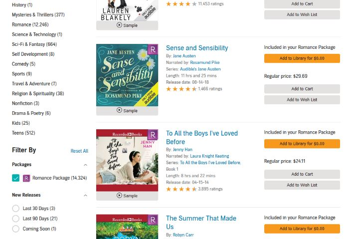 Audiobooks in the Audible Romance Package