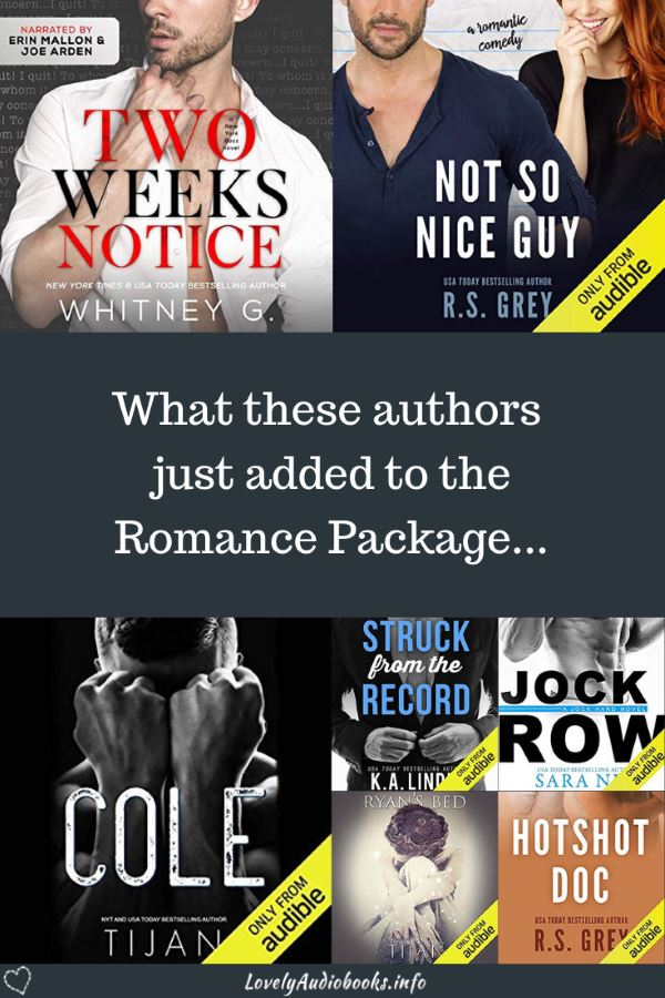 Check out which amazing new and older audiobooks the bestselling Romance authors Whitney G., R.S. Grey, Tijan, Sara Ney, and K.A. Linde just added to the Audible Romance Package!