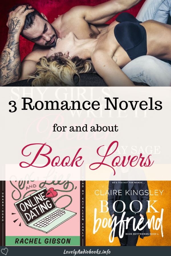 Graphic with book covers of Shy Girls Write It Better, Book Boyfriend, and Sex, Lies, and Online Dating