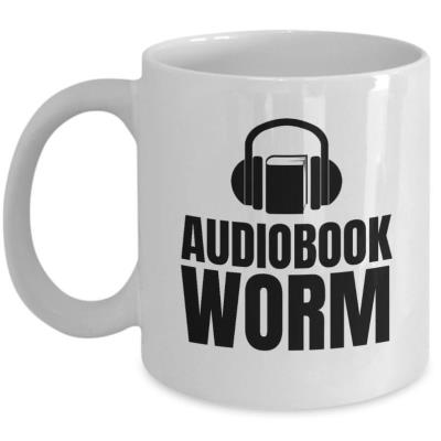 Audiobook Worm white mug