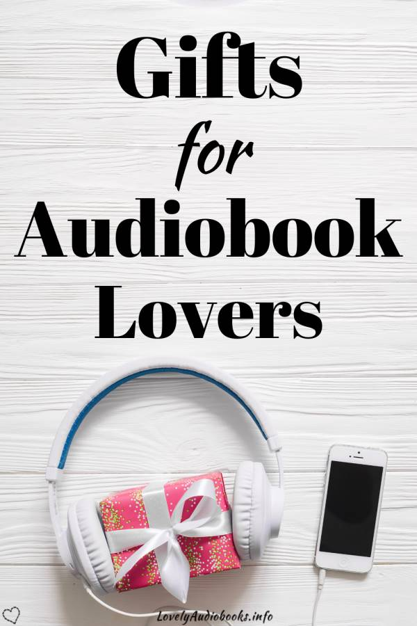 Gifts for Audiobook Lovers. Background image showing a gift box wrapped in red paper with a white bow, white headphones on, and a phone.