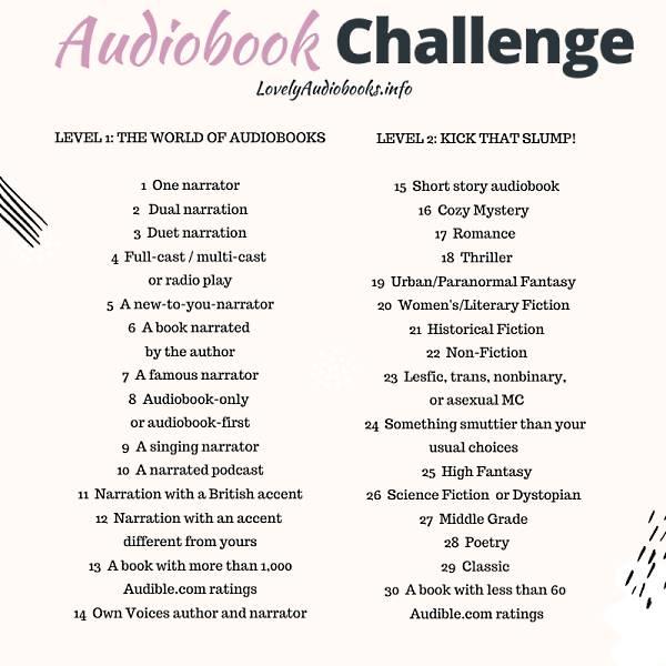 Audiobook Challenge prompts list (Audible challenge)