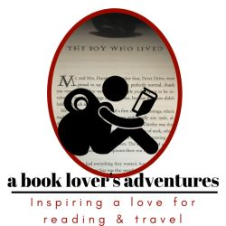 Logo of A Booklover's Adcentures with a drawn figure with a backpack reading a book