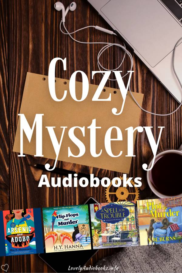 text: cozy mystery audiobooks, book covers: Arsenic and Adobo, Flip-Flops and Murder, A Spell for Trouble, The Plot is Murder