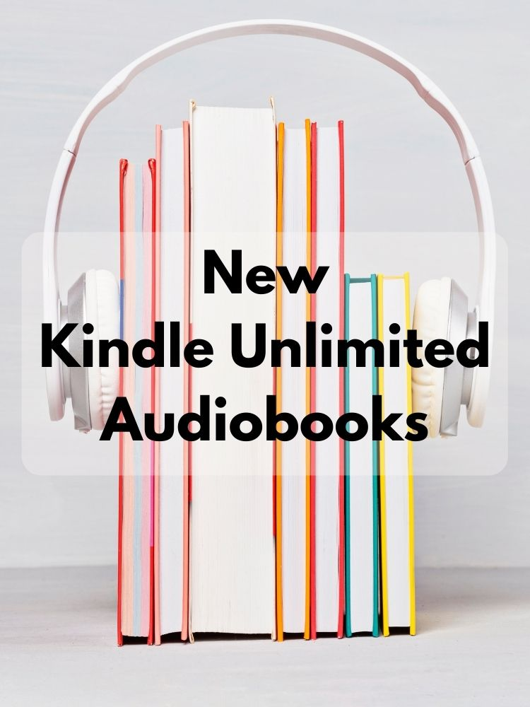 New Kindle Unlimited Audiobooks - Stack of colorful books with white headphones