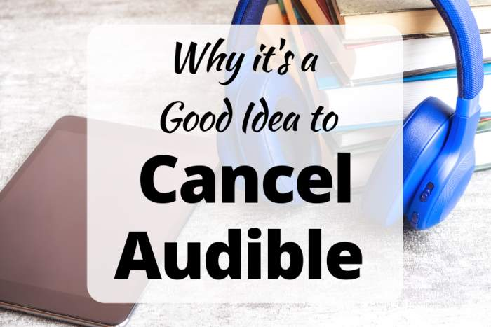 Why it's a Good Idea to Cancel Audible, image of an ereader, blue headphones and a stack of books