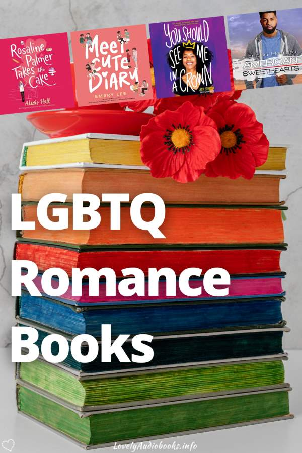 lgbt romance books pin - background image with rainbow colored books
